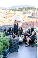 Girlfriends birthday celebration at rooftop terrace bar in Florence